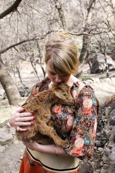 1960's peasant dress with goat print... me in it holding a goat in Morocco