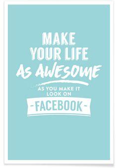 Facebook Life en Affiche premium par LeDieg   JUNIQE