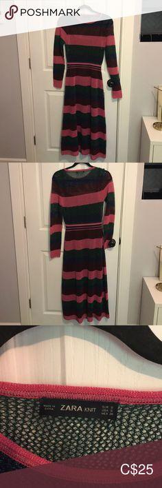 Zara lurex striped midi dress Lovely midi pink, green, blue and burgundy striped lurex midi dress. Comes with matching slip dress underneath. Fits best size 2 to Size small Zara Dresses Midi Striped Midi Dress, Pink And Green, Blue, Plus Fashion, Fashion Tips, Fashion Trends, Zara Dresses, Size 2, Burgundy