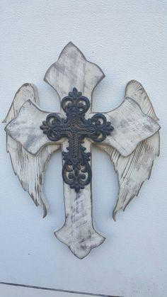 New Angel Wing Fleur De Lis Wall Cross By Dontthrowthataway