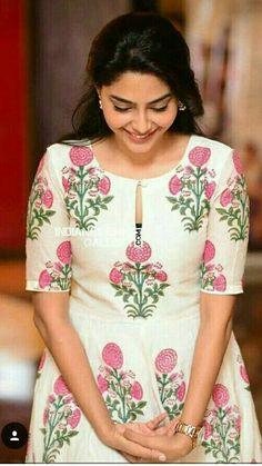 Aiswarya Laxmi - All About Salwar Designs, Silk Kurti Designs, Kurta Designs Women, Kurti Designs Party Wear, Salwar Suit Neck Designs, Kurti Sleeves Design, Kurta Neck Design, Sleeves Designs For Dresses, Dress Neck Designs