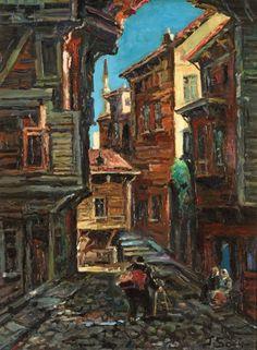 """""""Eski Istanbul Sokağı""""  İbrahim Safi (1898/99-1983)"""