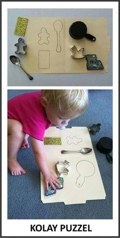 Evde kolay puzzle birebir eşleme çalışması dikkat geliştirici bir etkinlik