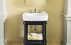 This petite Bancroft vanity from Kohler contains a drawer for toiletries and an open cubby for stacking towels. About $765 (not including sink); Kohler
