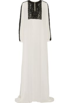 White silk-chiffon, black lace Hook-fastening keyhole at front 100% silk Spot clean