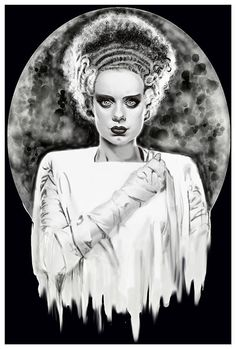 """Monsters Bride of Frankenstein art print by artist Shayne of the Dead. Art print size 12"""" x 18"""" (30.5cm x 45.5 cm). Art prints are printed on heavy weight, 100 lb semi gloss cover stock. All prints ar"""
