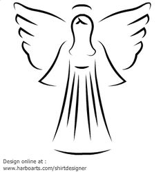 Vector angel drawn with with artistic outline. Peaceful and divine christmas angel illustration. Decorative angel drawing for printing. DOWNLOAD this vector angel clipart for a few dollars (formats available AI, EPS, PDF, SVG and JPG) and enjoy royalty-free commercial  usage rights - (see license and usage rights)