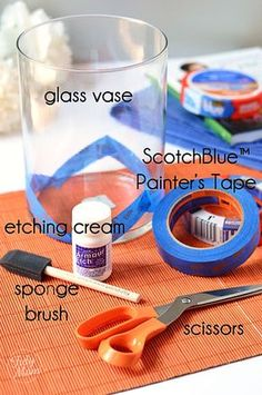 How to Etch a Glass Vase with Chevron Stripes. Supplies to etch glass vase. This is great simple DIY that will turn a generic glass vases into something that ends up looking elegant and chic. Great for gift giving. Clear Glass Vases, Glass Bottles, Glass Art, Cut Bottles, Cut Glass, Wine Glass, Jar Crafts, Bottle Crafts, Diy Bottle