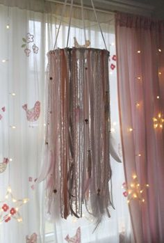 Dream Catcher Nursery Mobile - Boho Pink and Gold Dream Catcher Mobile - Baby Girl Nursery Decor - Ribbon Mobile Dream Catcher Mobile, Blue Dream Catcher, Dream Catcher Nursery, Lace Dream Catchers, Baby Girl Nursery Decor, Boho Nursery, Baby Room, Ribbon Mobile, Ribbon Chandelier