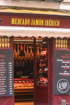A ham shop in Madrid Hispanic Culture, Level 3, Madrid, Spanish, Shops, Blog, Recipes, Shopping, Cities