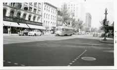 Capital Transit PCC on Route 60 at 11th and G Streets NW (1950s).