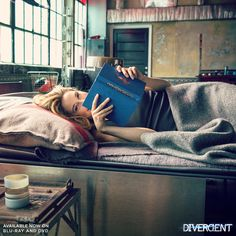 """Shailene studies up on Tris during downtime on set. Check out the Divergent special features for more behind-the-scenes fun.  We love seeing """"Tris"""" reading DIVERGENT!"""