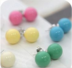 Stud Earrings  OMH wholesale 120pair OFF 30%=$0.14/pair EH02 accessories hot-selling candy qq ball all-match stud earring 2g * Descubra mais sobre este ótimo produto clicando no botão VISITAR Pearl Studs, Girls Bags, Cool Things To Buy, Stuff To Buy, Jewelry Accessories, Stud Earrings, Pairs, Candy, Womens Fashion