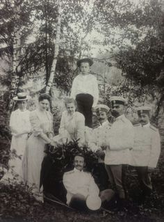 Grand Duchess Ella Fyodorovna with her foster children Grand Duchess Maria Pavlovna and Grand Duke Dmitri Pavlovich and some of her numerous friends