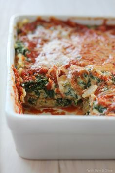 Lightened Spinach Lasagna, Gluten-free | With Style & Grace | With Style & Grace