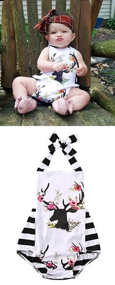 Newborn Baby Girl Clothes Xmas Reindeer Bodysuit Romper Playsuit Jumpsuit Outfit (18-24 Months, White)
