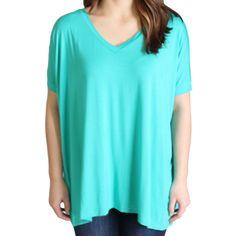 Light Green Piko V-Neck Short Sleeve Top