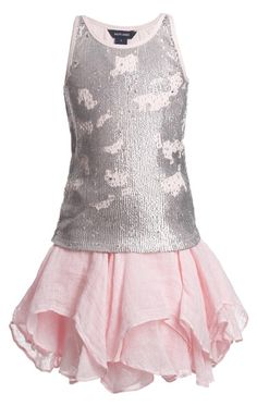 #Ralph Lauren girls beautiful two piece outfit set featuring a pale pink flared linen skirt and a sparkling silver and pink sequin top. The skirt has a silky soft lining and a prettyhandkerchief hem and the pink cotton top is covered in silver sequins and sparkling beads. They can be worn together or with other items in your wardrobe to make a completely different£ 304, 00 found on My Child World