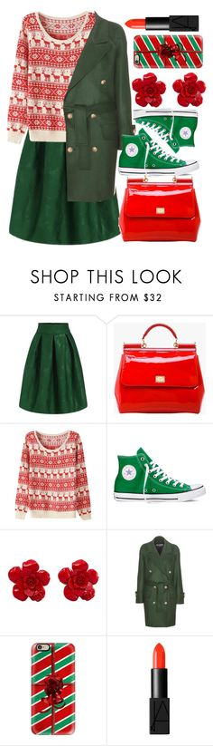 """""""At Last"""" by egordon2 ❤ liked on Polyvore featuring Dolce&Gabbana, Converse, Chanel, Balmain, Casetify, NARS Cosmetics, Christmas and Christmas2015"""