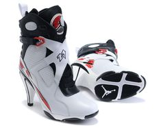 3c2c254fa31aa7 Jordan Shoes Womens Air Jordan 8 High Heels White Black Red Boots  Womens  Air Jordan 8 Boots - White and black leather upper with perforated  detailing on ...
