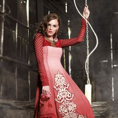 Shaded Red Faux Georgette Churidar Kameez