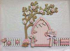 Magical Hand Painted Pink Blossom Fairy Door And Tree With Fencing | eBay