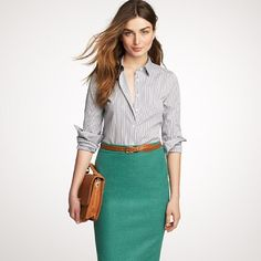 @Jcrew. Adore this teal pencil skirt. SO looking forward to wearing pretty professional clothes again!