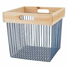 Wood and Wire Blue Cube Bin | The Land of Nod