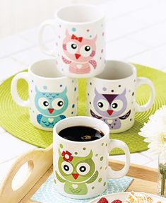 Whimsical Set of 4 Owl Mugs is a cute way to offer coffee or tea to friends and family. Each mug has an adorable owl in a different color. A variety of expressi Owl Room Decor, Owl Kitchen Decor, Kitchen Dining, Owls Decor, Owl Coffee, Coffee Mugs, Crackpot Café, Owl Mug, Owl Crafts