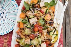 Grab the recipe for this Grilled Chicken Panzanella - it's great to make for an at home BBQ, or make ahead of time and bring to a friends house!