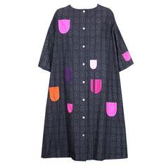 Marimekko Printed and Applique Cotton Dress 60's