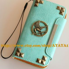 leather Samsung Galaxy S4 case wallet,I9500,bronze studs and The Hunger Games Mockingjay Logo, Mint green color Samsung Galaxy S4 case