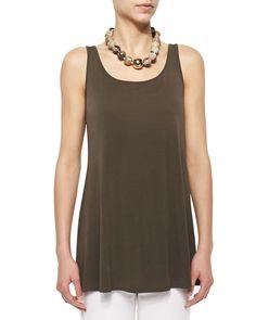 Eileen FisherLong Silk Jersey Tunic, Rye, Women's