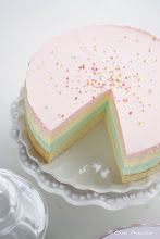 Rainbow cheesecake. Wonder if I could sub agar for gelatine...