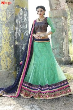Women's Net Fabric & Green Color Pretty A Line Lehenga Style. Message/call/WhatsApp at +91-9246261661 or Visit www.zinnga.com