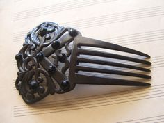 victorian black celluloid mourning hair comb by Antiquesofromance