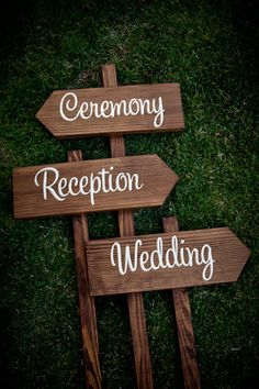 Custom Wedding Signs - THREE signs can say whatever you want, names, cermeony, reception, party that way, etc.. $99.00, RusticWeddingSigns via Etsy.