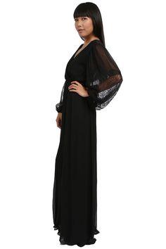 Alice+Olivia Black Saori Blouson Maxi Dress