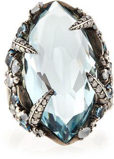 Alexis Bittar Fine Aqua Quartz, London Blue Topaz & Diamond Ring