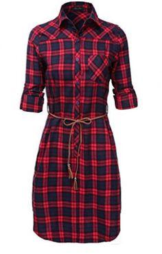 fall-plaid-dress - A Thrifty Mom - Recipes, Crafts, DIY and Gingham Dress, Plaid Dress, Belted Dress, Plaid Tunic, Cute Dresses, Casual Dresses, Casual Outfits, Fashion Dresses, Rock Dress