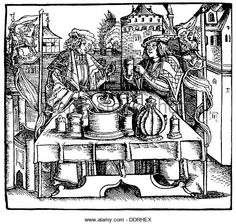 medicine pharmacy public making of theriac by a city physician and a apothecary woodcut from: Marsilio Ficino (1433 - Stock Image