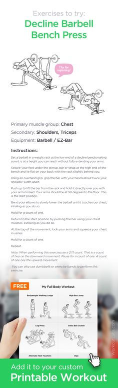 Decline Barbell Bench Press ✸ Add it to your custom printable workout at http://WorkoutLabs.com!