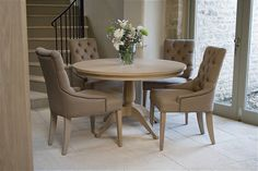 Neptune - Henley Upholstered Linen Dining Chair - Table. Click for larger image