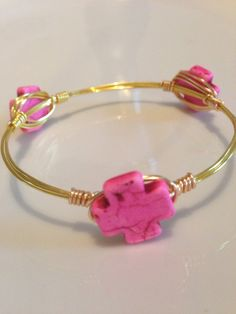 Pink turquoise cross gold wire wrap bangle
