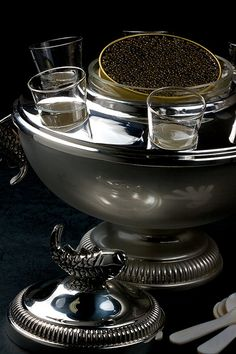Caviar and vodka. That is my caviar server. It is in the china cabinet Alison, you can use it at the wake. Drink Bar, Food And Drink, Champagne, Luxe Life, In Vino Veritas, Luxury Living, Fine Dining, Luxury Lifestyle, Cocktails