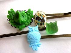 Spring Hair Accessories Green Woodland Owl Bobby by PlumePretty, $21.00 #hair_pins