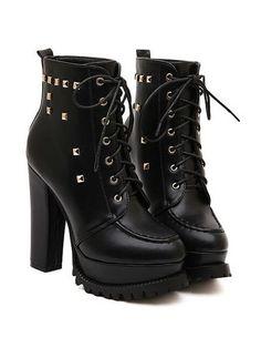 Studded Black Chunky Heel Boots