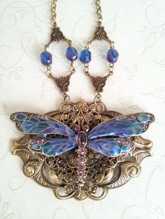 Victorian Enameled Draogfly Necklace by CCsVINTAGETREASURES, $150.00