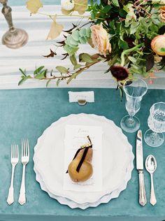 beautiful blue linen option for a wedding reception