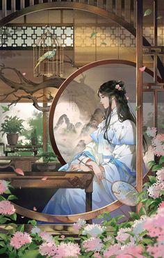 Like an picture mobile Anime Art Girl, Manga Art, Chinese Drawings, Art Asiatique, Art Japonais, Beautiful Fantasy Art, China Art, Anime Scenery, Fantasy Artwork